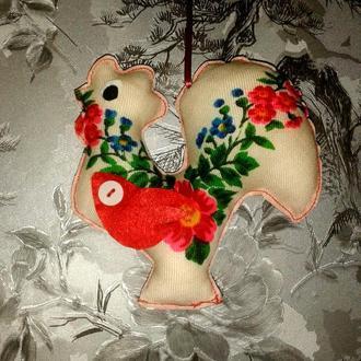 Елочная игрушка - украшение Петушок ручной работы
