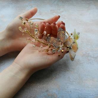ободок хрустальный с бабочками , золотистый ободок для прически , украшение для волос на обруче