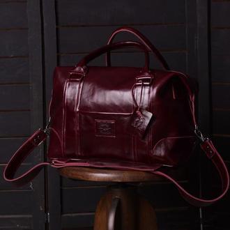 Женская дорожная кожаная сумка PRAGA, Спортивная сумка из глянцевой кожи