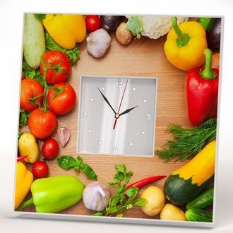 """Стильные настенные часы """"Овощи"""" для кухни"""