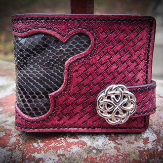 Кожаный кошелек Красный со вставкой