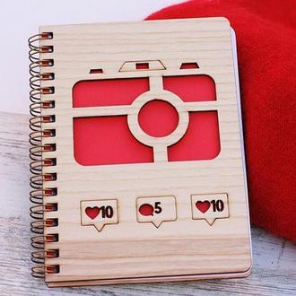 Блокнот в дерев'яній обкладинці, скетчбук, записник, альбом, нотатник, А6