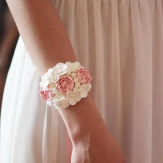 """Свадебный браслет для невесты с цветами """"Пионы с розами"""""""