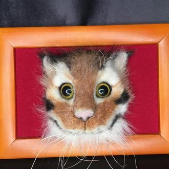 Объёмная картина в технике сухого валяния, Рыжая кошка