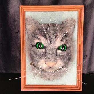 Объёмная картина в технике сухого валяния Серый кот