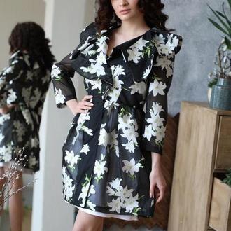 Воздушное платье из органзы Черные Лилии