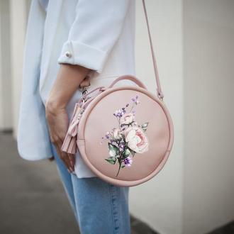 Круглая сумка кожаная с вашим рисунком | Limu Holysaints