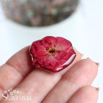 Чарівна брошка з малиновою трояндою • настоящая малиновая роза • брошь с цветком розы • подруге