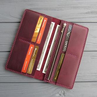 Кожаное портмоне Vilena, портмоне из натуральной кожи_марсала, подарок женщине