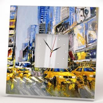 """Оригинальные арт настенные часы """"Желтые такси Нью-Йорка"""""""