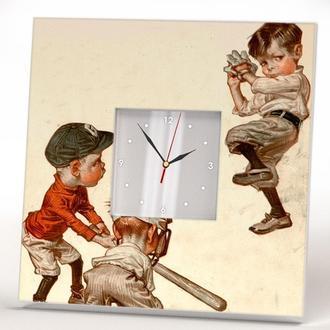 """Уникальные часы с ретро декором """"Бейсбол Винтаж"""""""