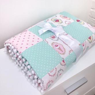 детское лоскутное розовое одеяло в кроватку подарок для девочки мятный плед для новорожденных