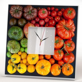 "Разноцветные настенные часы ""Томаты Помидоры"""