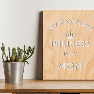 """Декоративная деревянная доска на стену """"MOM"""""""