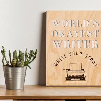"""Декоративная деревянная доска на стену """"WRITER"""""""