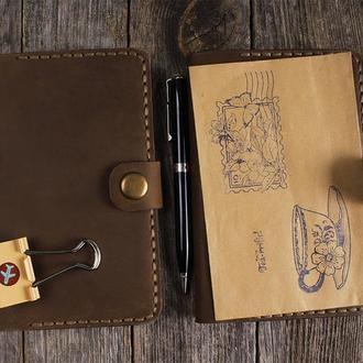 Блокнот карманный с кожаной обложкой и сменным блоком