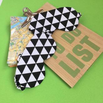 Маска для сну - геометрія, маска для сну Київ, подарунок хлопцю Київ, маска для сну-трикутники