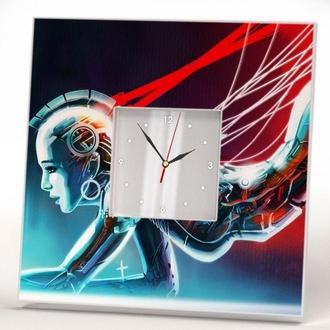 """Настенные часы """"Девушка робот андроид"""""""