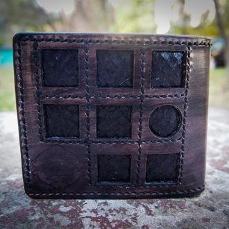 Мужской бумажник, мужской кошелек из экзотической кожи