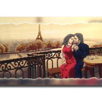 Картина вишита бісером Закохані в Парижі