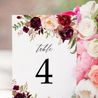 Номерки на столы цвета марсала. Свадебные аксессуары.