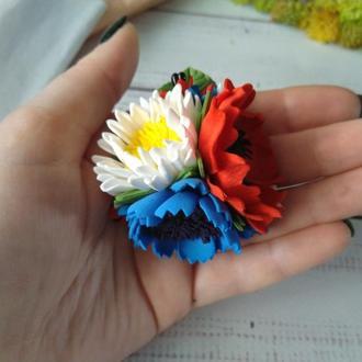 Резинка для волос в украинском стиле, резинка с маком ромашкой васильком, резинка в школу, цветы из