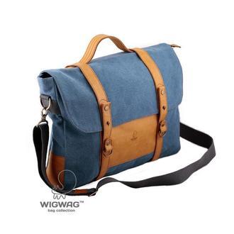 Мужской портфель из голубого канваса и натуральной рыжей кожи