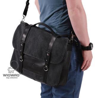 Мужской портфель из канваса и натуральной кожи, серый графит