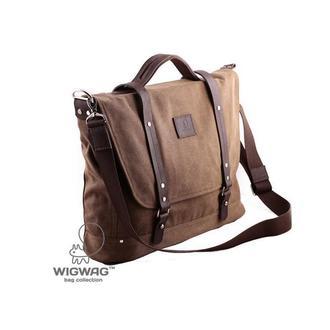 Мужской портфель, канвас и натуральная кожа, коричневый