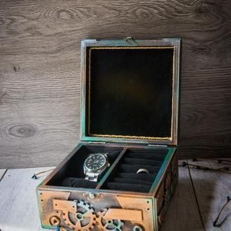Шкатулка в стиле лофт для хранения мужских часов, колец и запонок