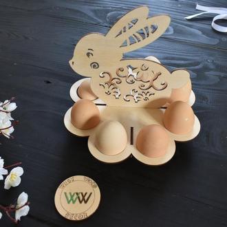 Пасхальная подставка для яиц / Зайчик, заяц, из дерева