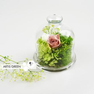 Мини-колба со стабилизированными растениями и розой «Beige&Green»