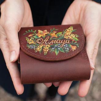 Рыжий кожаный женский кошелек портмоне с росписью