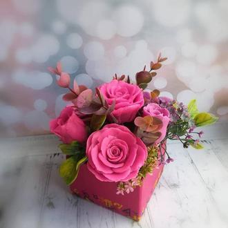 подарок на день рождение. Букет роз из мыла ручной работы