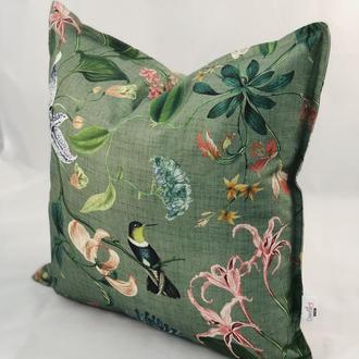 Подушка с  птицами колибри. Диванная декоративная. Зеленая подушка.
