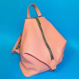 """Женский рюкзак """"Парис"""" натуральная кожа розового цвет, вместительный рюказак"""