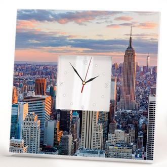 """Дизайнерские настенные часы """"Нью-Йорк. Манхэттен. Небоскребы"""""""