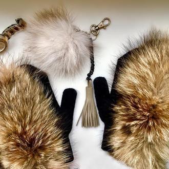 Варежки с натуральным мехом лисы