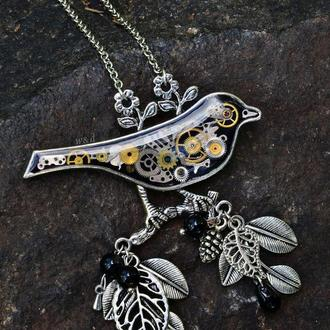 Кулон брошка птица выполнена в стилях steampunk clockpunk (только заранее под заказ на сентябрь)