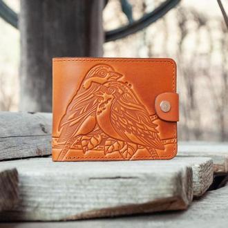 Кошелек женский кожаный маленький с птичками светло-оранжевый