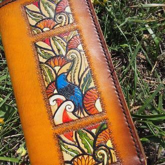 Женский кошелек, женский тревел кошелек, кожаный кошелек с рисунком