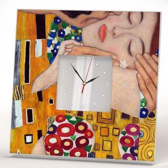 """Настенные часы картина Густав Климт """"Поцелуй"""""""