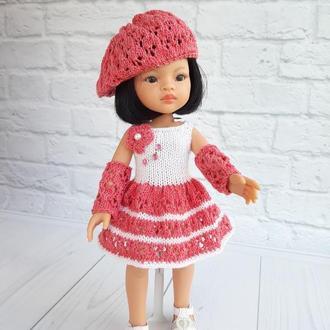 Одяг на ляльку Паола Рейну 32 см, рожево-біле плаття з беретом на Паолу