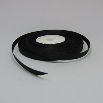 Лента репсовая черная для украшений 6 мм