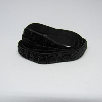Лента бархатная черная с блестками10 мм