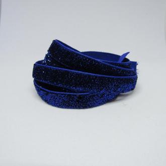 Лента бархатная синяя с блестками 10 мм