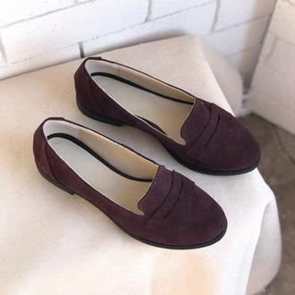 Туфли лоферы балетки, замша , из натуральной замши , 36-40