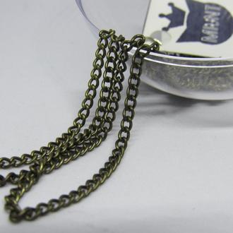Цепочка металлическая бижутерия бронза 1 метр