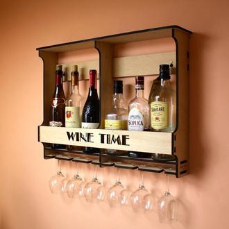 Полка мини-бар Wine Time для 6 бутылок и бокалов.