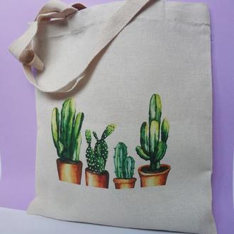Экосумка кактусы, шоппер кактус, екосумка квіти эко-сумка кактус киев, авоська киев, экосумка Киев